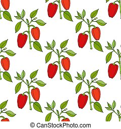Paprika red pepper spice seamless pattern