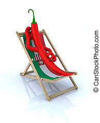 paprika resting on a beach chair
