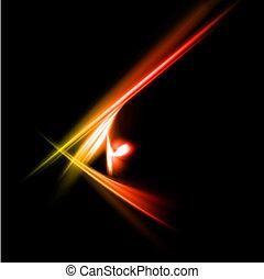 paprsek, abstraktní, lights., zbabělý, vektor, červeň