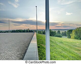 paprsek, druh, pillar., západ slunce, pastvina, mrknout, grafické pozadí, pod, nezkušený, během, sun's, aut