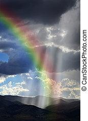 paprsek, o, sluneční světlo, dále, pokojný, hory, a, duha