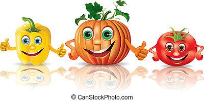 papryka, pomidor, warzywa, dynia, zabawny