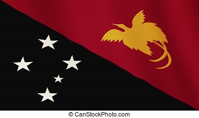 Papua flag waving animation. Full Screen. Symbol of the country.