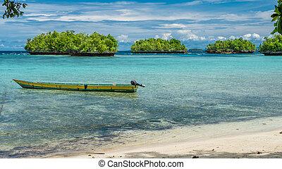 Papua Local Boat, Beautiful Blue Lagoone near Kordiris Homestay, Small Green Island in Background, Gam, West Papuan, Raja Ampat, Indonesia