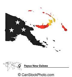papua, mapa, bandeira, nova guinea