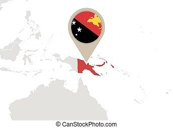 papua, mapa, mundo novo, guiné