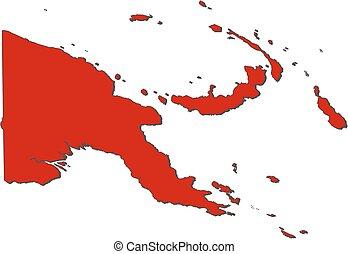 papua, mapa, -, nova guinea