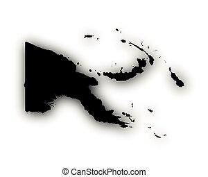 papua, mapa, sombra, nova guinea