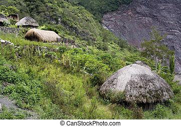 papua, montagna, tradizionale, villaggio