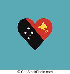 Papua New Guinea flag icon in a heart shape in flat design