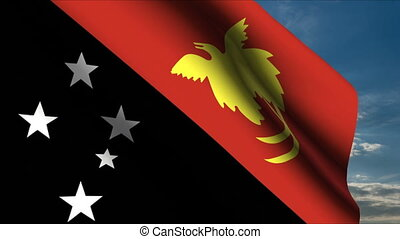 Papua New Guinea Flag waving in wind with clouds in...