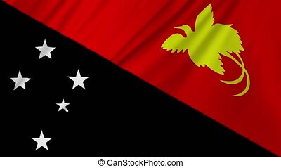 Papua New Guinea Flag waving in wind animation 2 in 1 -...