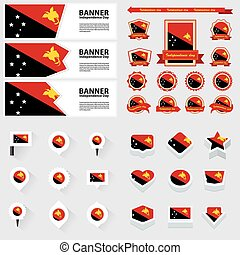 Papua New Guinea independence day, infographic, and label Set.