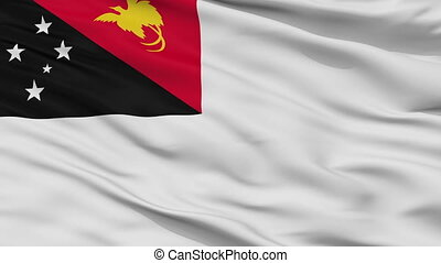 Papua New Guinea Naval Ensign Flag Closeup Seamless Loop -...