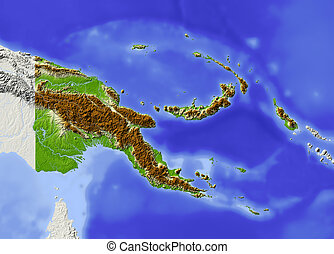 Papua New Guinea, shaded relief map. Colored according to...