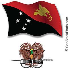 papua new guinea textured wavy flag vector