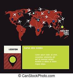 papua nova guiné, vetorial, mundo
