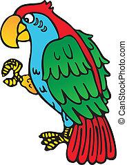 papuga, żółty, dziób