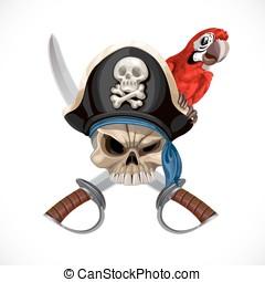 papuga, kapelusz, Wesoły,  Roger,  pirat, Szable, czerwony
