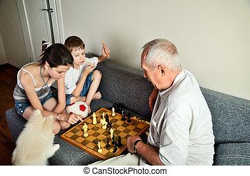 papy, jouer, petits-enfants, échecs
