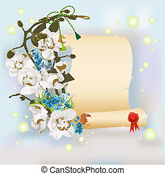 Papyrus and branch with flowers over springtime background