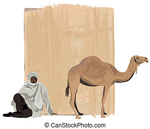 Papyrus Background - Papyrus background with a bedouin and a...
