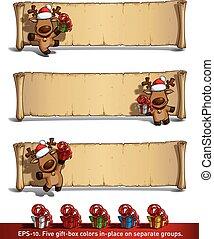 papyrus, gåvor, älgar, bakgrund, vit jul