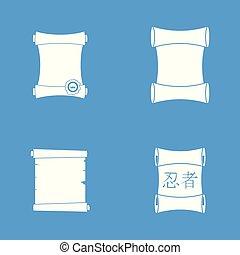 Papyrus icon blue set vector - Papyrus icon set. Simple set...