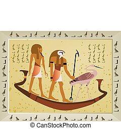 papyrus, met, communie, van, egyptisch