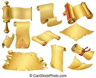 papyrus, oud, rollen, oud, manuscripten, gerolde, perkament, papier, computer, spotprent, beweeglijk, game., scrolls., ouderwetse , vector