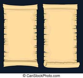 Papyrus scrolls, aged blank paper scroll, medieval yellowish manuscript