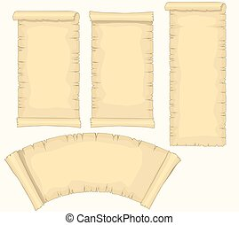 Papyrus scrolls Set, aged blank paper scroll, medieval yellowish manuscript, diploma or certificate template