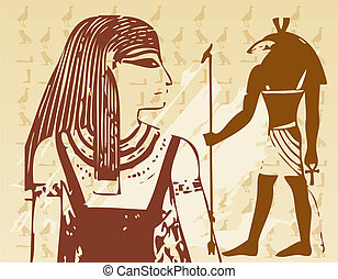 Papyrus with elements of egyptian ancient history -vector...