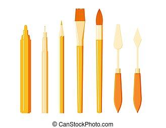 paquebot, brosse, art, crayon, stylo, ensemble, outils, marqueur, -