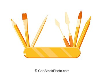 paquebot, brosse, crayon, stylo, outils, artiste, marqueur, -