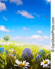 paques, art, champ, printemps, oeufs
