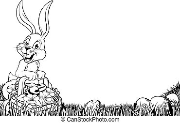 paques, blanc, noir, lapin, illustration