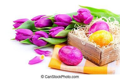 paques, bouquet, tulipes, printemps, oeufs