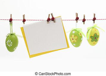 paques, carte, et, oeufs, accrocher dessus, les, clothesline