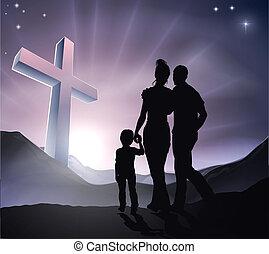 paques, chrétien, croix, famille