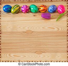 paques, coloré, eggs.