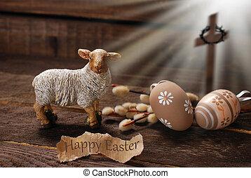 paques, concept, à, agneau, et, croix, symbole