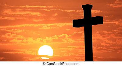 paques, croix, à, levers de soleil