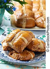 paques, croix, buns..traditional, paques, pastries.