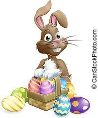 paques, dessin animé, lapin, panier, oeufs