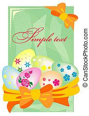 paques, eggs., panier