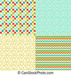 paques, ensemble, patterns., seamless, heureux
