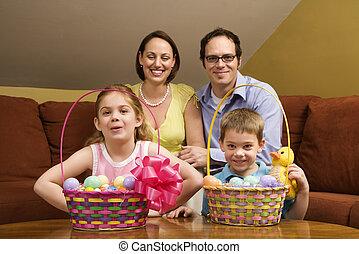 paques, famille, portrait.
