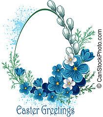 paques, fleurs, bannière, printemps