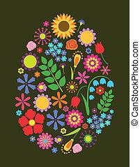 paques, fleurs, oeuf